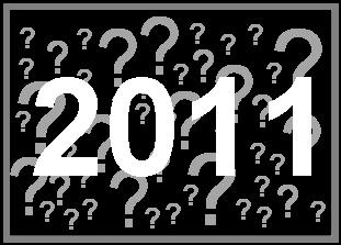 Jahreszahl 2011, mit vielen Fragezeichen unterlegt